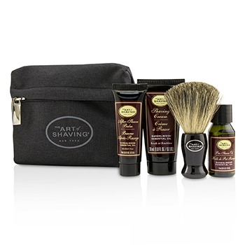 Starter Kit - Sandalwood: Pre Shave Oil + Shaving Cream + After Shave Balm + Brush + Bag4pcs +1Bag